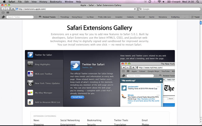Apple Releases Safari 5.0.1 With Safari Extensions Gallery