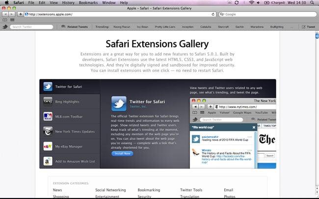 Apple Releases Safari 5.0.1 With Safari Extensions Gallery