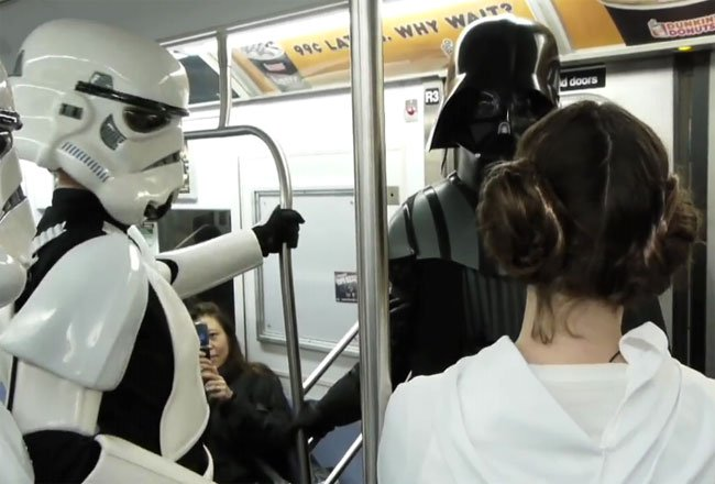 Star Wars On The New York Subway (video)