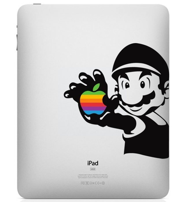 Mario Rainbow Apple Logo iPad Decal