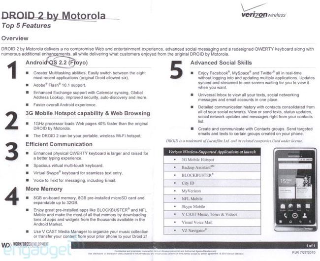 Motorola Droid 2 - More Details Revealed
