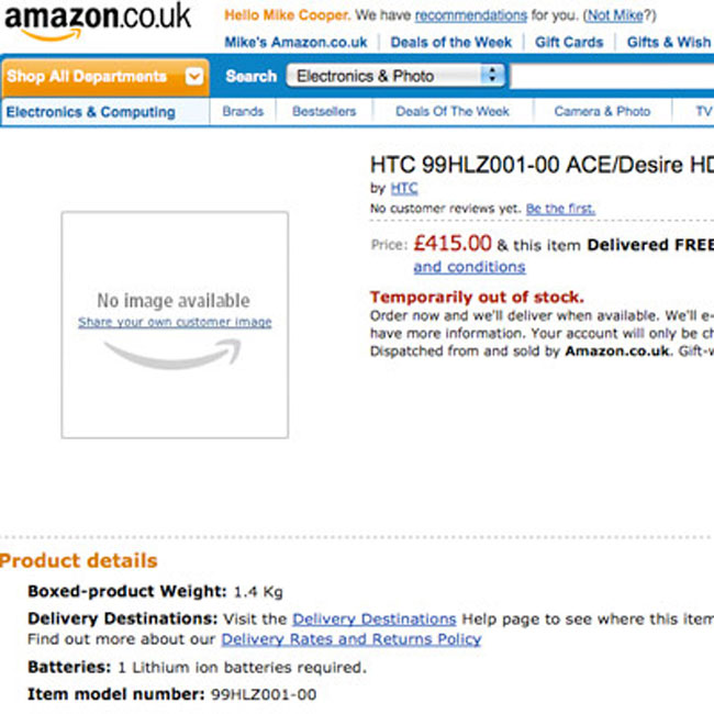 HD Desire HD Turns Up On Amazon
