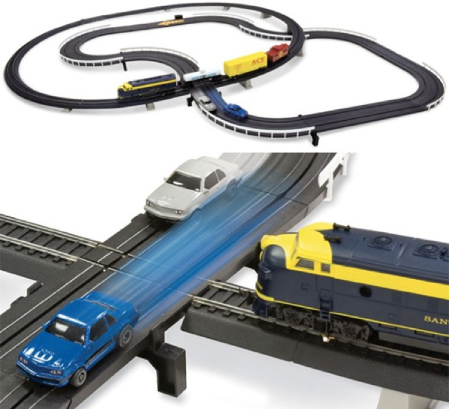 Intersecting slot car plus train set equals geek toy win for Model chicken set