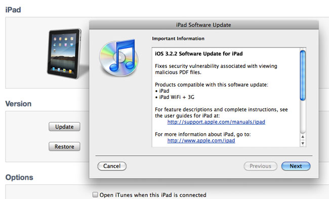Apple Released iOS 3.2.2 For iPad, Fixes Security Holes