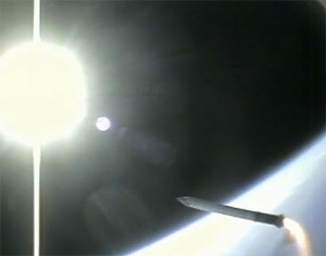 Shuttle Rocket Booster Camera Falls Back To Earth (amazing video)