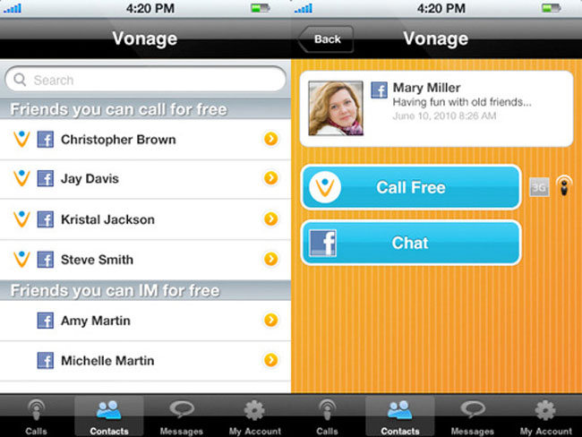 Vonage Mobile App Lets You Call Your Facebook Friends For Free