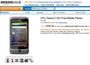 HTC Desire Z UK price