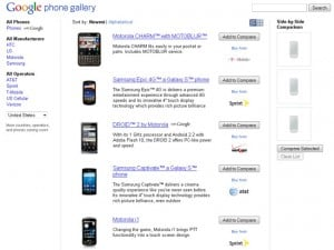 Google Phone Gallery Lets You Compare Android Smartphones