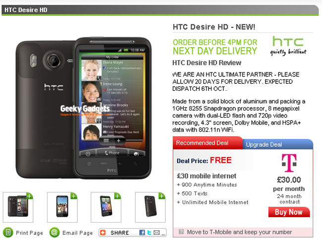 HTC Desire HD Available Free On £30 T-Mobile Contract?