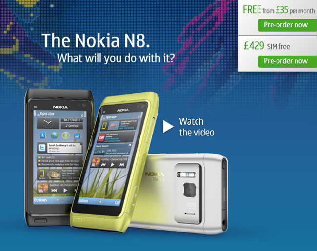 Nokia N8 UK Price, £429 Launching End Of September