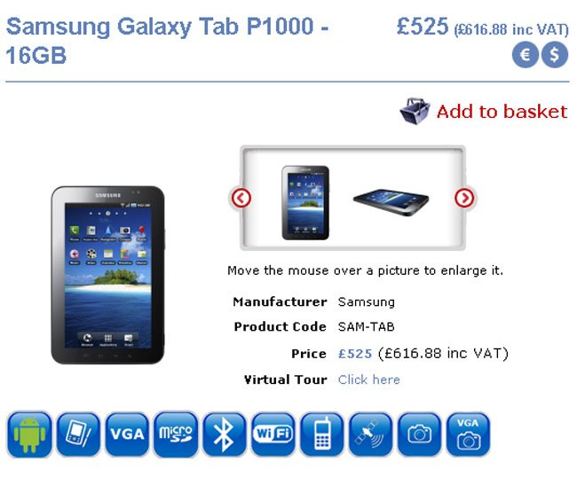 Samsung Galaxy Tab UK Price