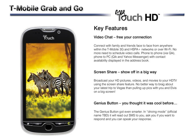 T-Mobile MyTouch HD Specifications Leaked