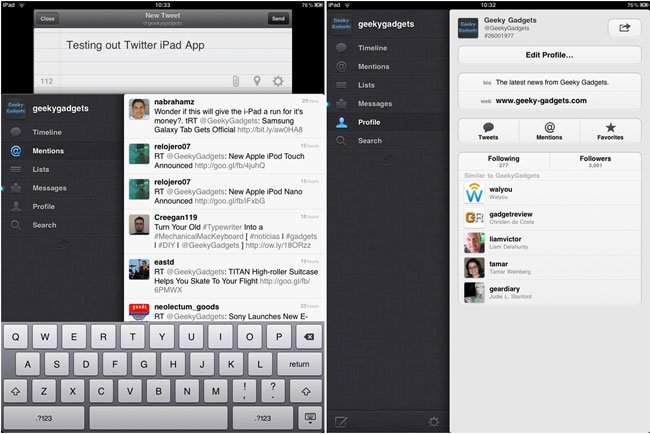 Official Twitter iPad App Now Available