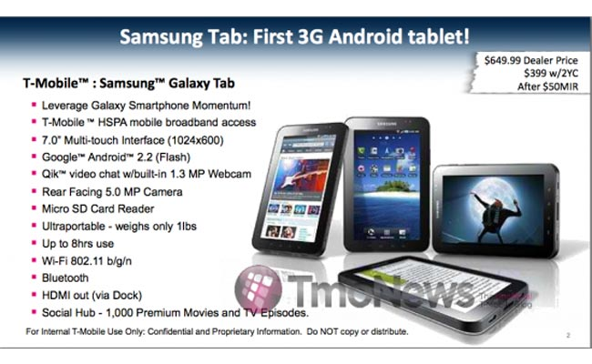 T-Mobile Samsung Galaxy Tab Pricing Revealed