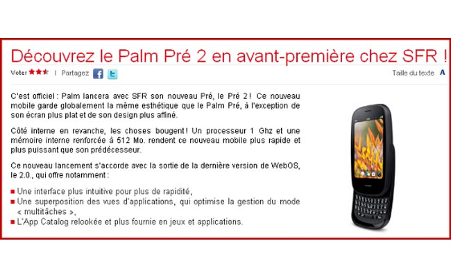 Palm Pre 2 To Feature 1GHz Processor And 512MB Of RAM