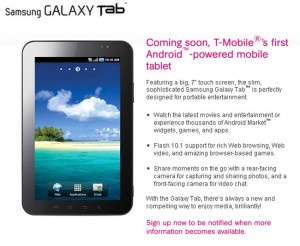 Samsung Galaxy Tab T-Mobile Sign Up Page Now Live