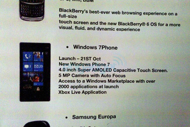 Windows Phone 7 UK Release Date 21st October 2010?