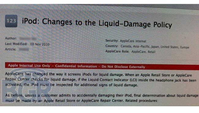 Apple iPod Water Damage