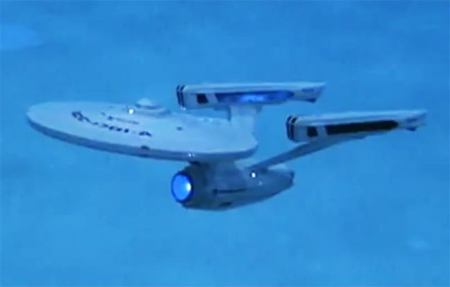 Starship Enterprise Model Flies Through Water