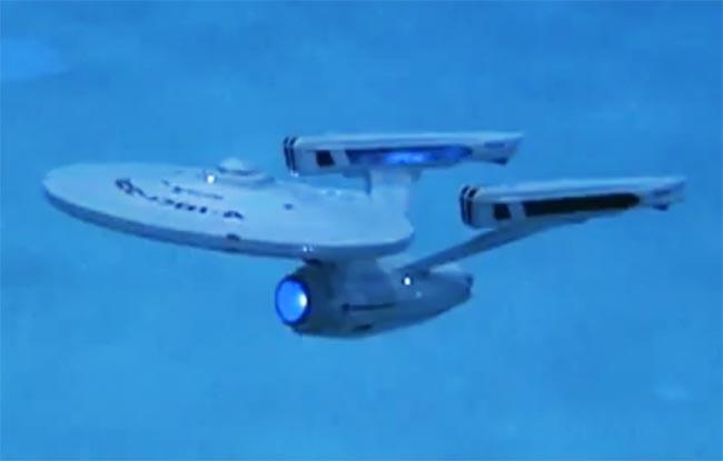 Starship Enterprise Model Flies Through Water