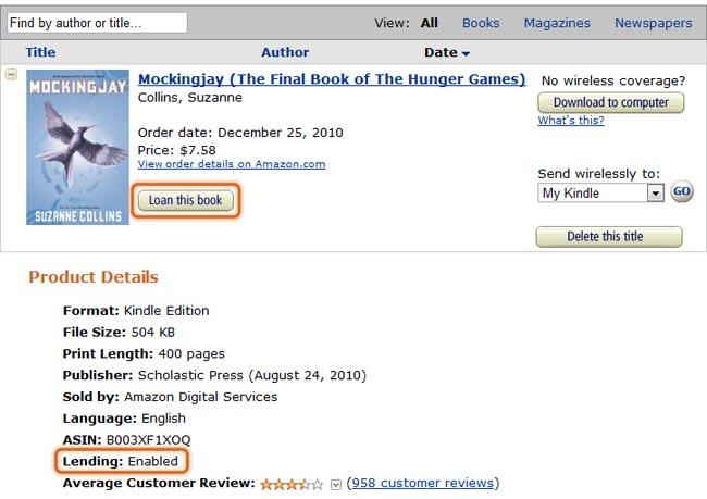 Amazon Enables Kindle Book Lending