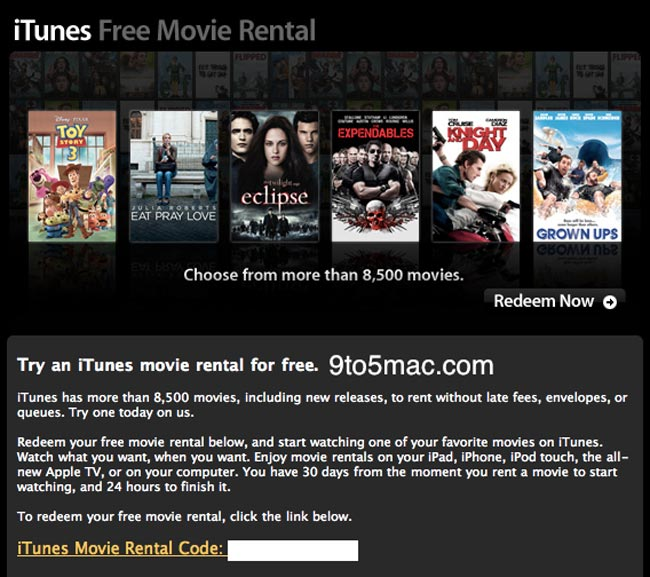 Apple Free Movie Rentals