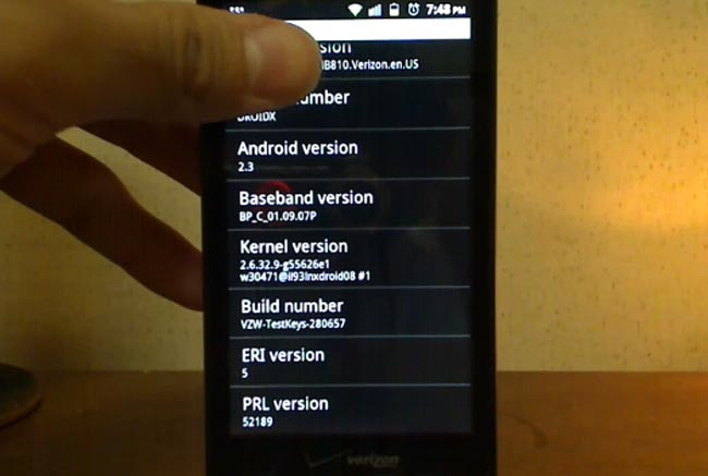 Verizon Motorola Droid X Running Android 2.3 Gingerbread