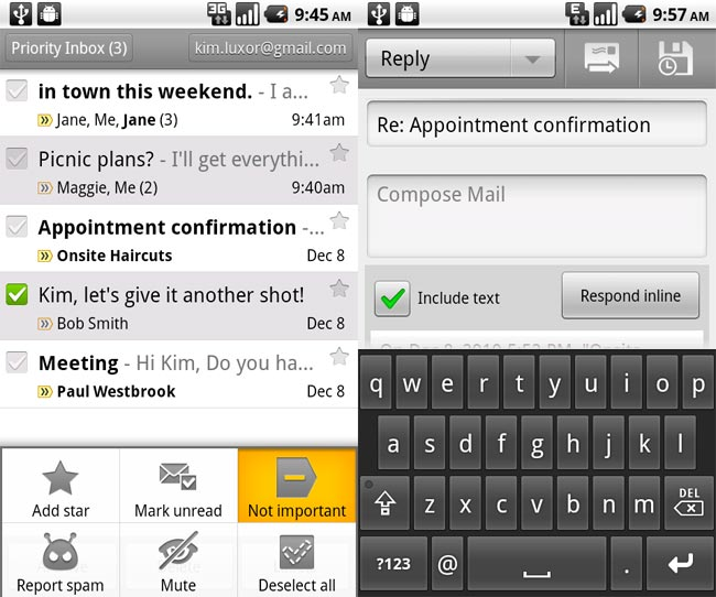 how to create a message on gmail with android