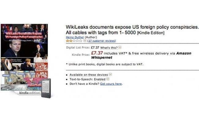 Amazon Starts Selling WikiLeaks Kindle eBooks