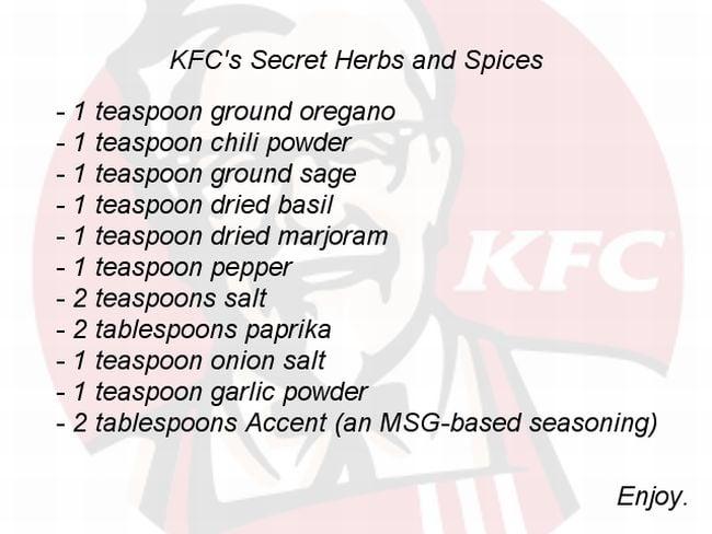 KFC formula