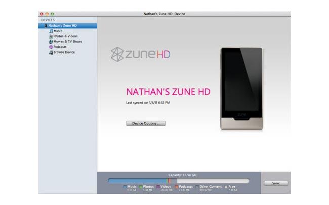 Mac Zune HD Sync