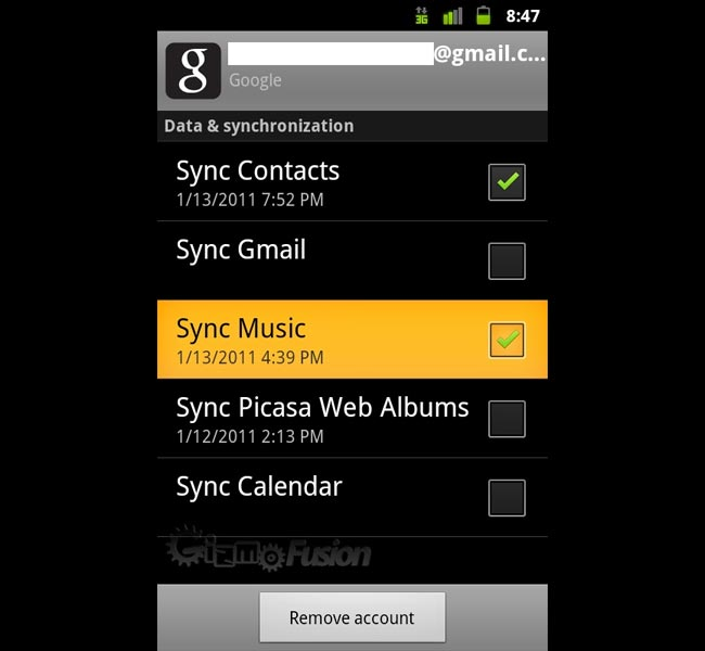 Android 2.3 Gingerbread Getting Google Music Sync
