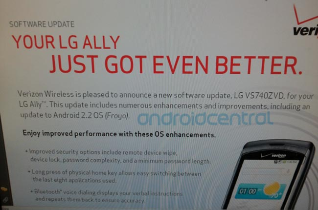 LG Ally About To Get Android 2.2 Froyo Update