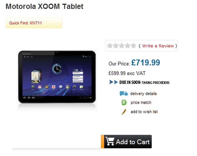 Motorola Xoom Tablet Available To Pre-order For £719.99