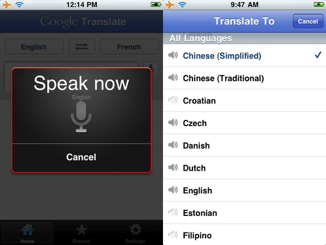 Google Translate iPhone App