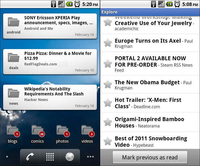 Google Reader App For Android Gets Updated