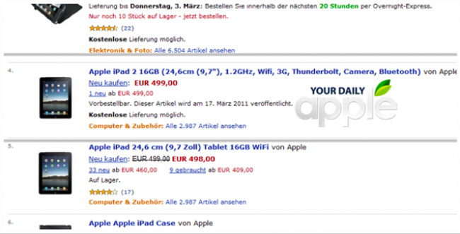 iPad 2 Leaked By Amazon Germany?