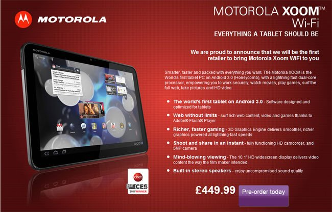 Motorola Xoom UK WiFi