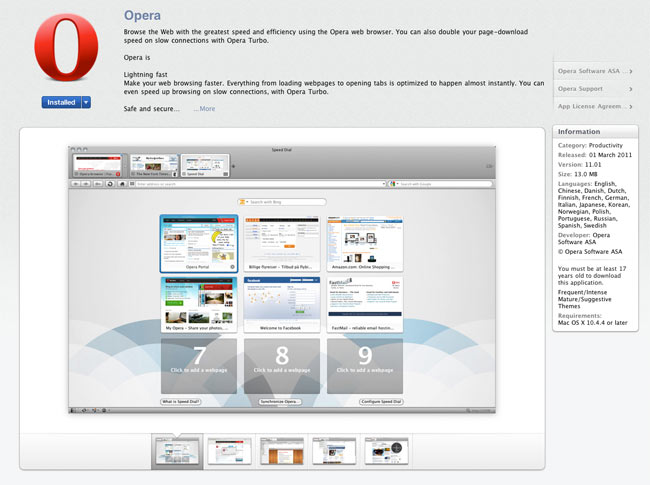 Opera Arrives In The Apple Mac App Store As First Non Safari Browser