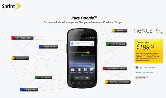 Sprint Google Nexus S 4G To Cost $199.99