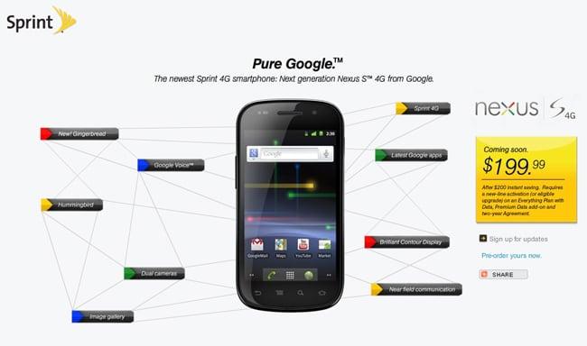 Sprint Google Nexus S 4G To Cost $199.99