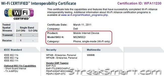 Dell Streak Wifi Certification