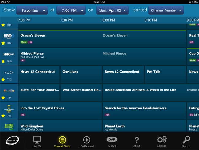 Cablevision iPad App : 300 Live Channels