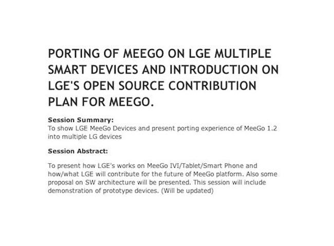 LG MeeGo tablet