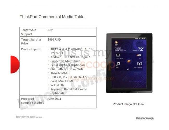 Lenovo ThinkPad Honeycomb Tablet