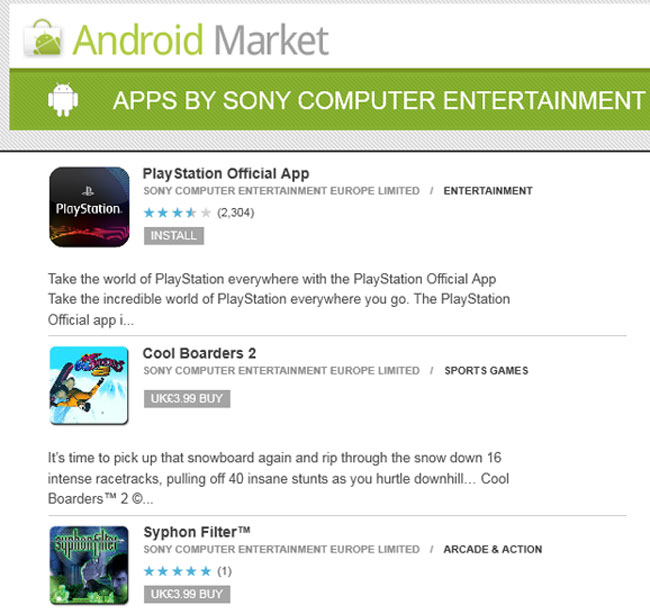 PlayStation Games Appear In The Android Market