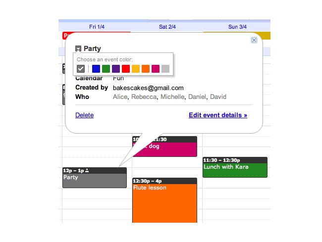 Google Calendar Colours