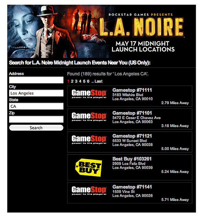 LA Noire Store Finder