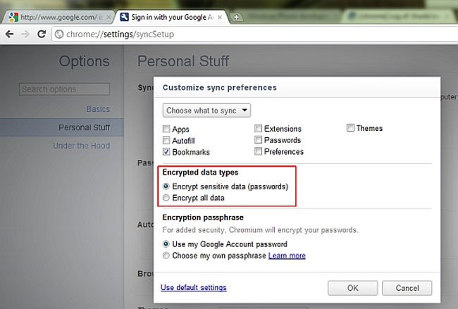 Personal Data Encryption Google Chrome