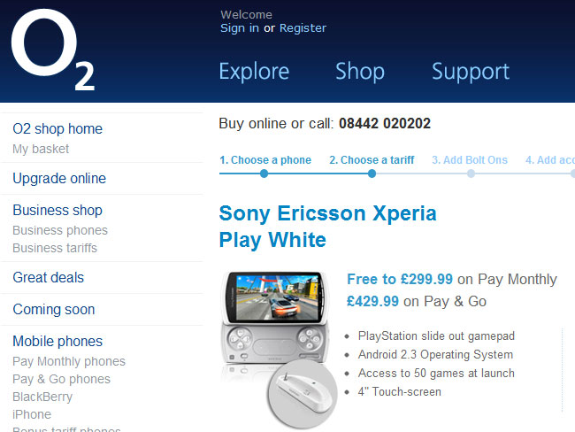Sony Ericsson Xperia Play o2 UK